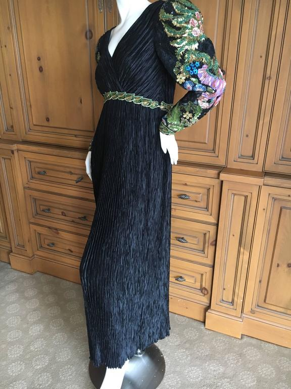 Mary McFadden  Couture Low Cut Black Plisse Pleated Dress w Beaded Sleeves In Excellent Condition For Sale In San Francisco, CA