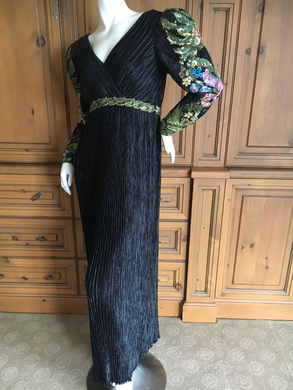 Mary McFadden  Couture Low Cut Black Plisse Pleated Dress w Beaded Sleeves For Sale 1