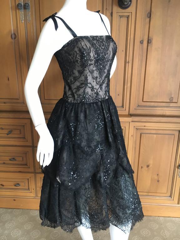 Oscar de la Renta Vintage Black Layered Lace Petal Dress 3