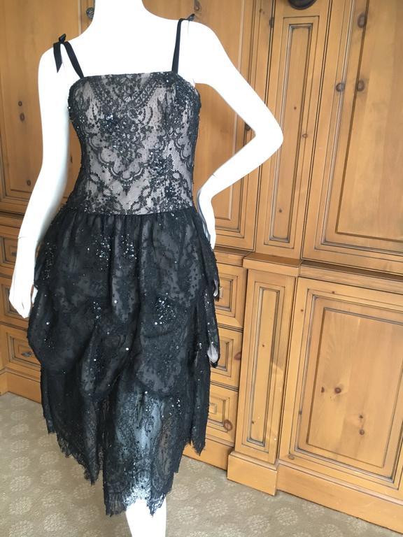 Oscar de la Renta Vintage Black Layered Lace Petal Dress 5