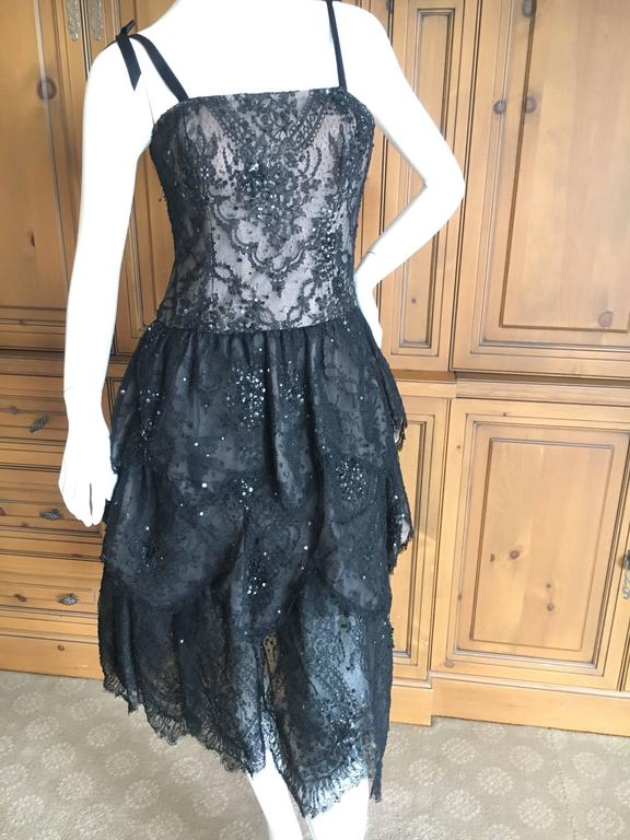 Oscar de la Renta Vintage Black Layered Lace Petal Dress 6