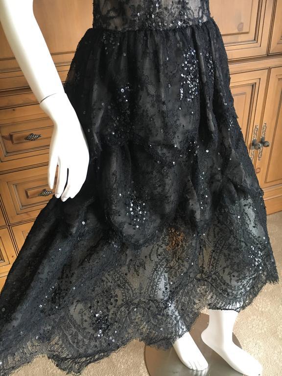 Oscar de la Renta Vintage Black Layered Lace Petal Dress 10