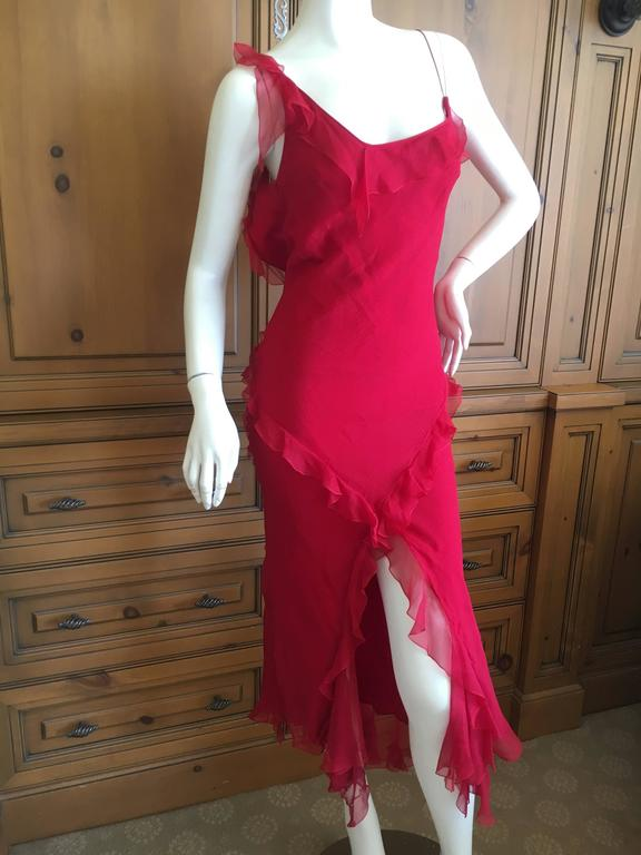 Christian Dior by John Galliano Ruffled Red Silk Dress In Excellent Condition For Sale In San Francisco, CA