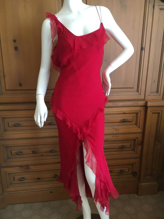 Christian Dior by John Galliano Ruffled Red Silk Dress For Sale 1