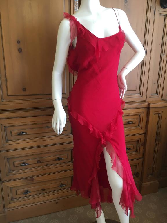 Christian Dior by John Galliano Ruffled Red Silk Dress For Sale 2