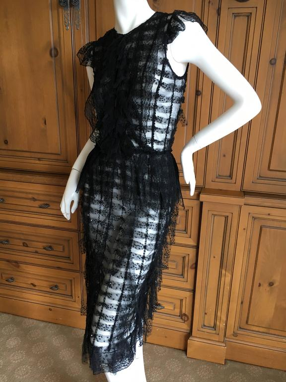 "Oscar de la Renta Sheer Black Bugle Bead Embellished Cocktail Dress with Slip. This is so pretty. The slip can be worn separately , and the dress is sheer, it would look amazing with just sexy black undergarments. Size 2 Bust 36"" Waist"