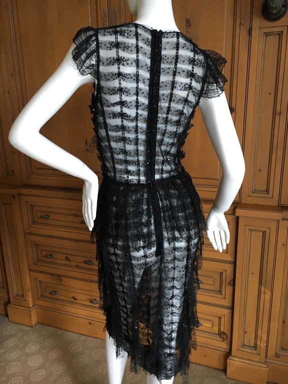 Oscar de la Renta Sheer Black Bugle Bead Embellished Cocktail Dress with Slip In Excellent Condition For Sale In San Francisco, CA
