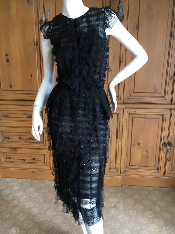 Oscar de la Renta Sheer Black Bugle Bead Embellished Cocktail Dress with Slip For Sale 3