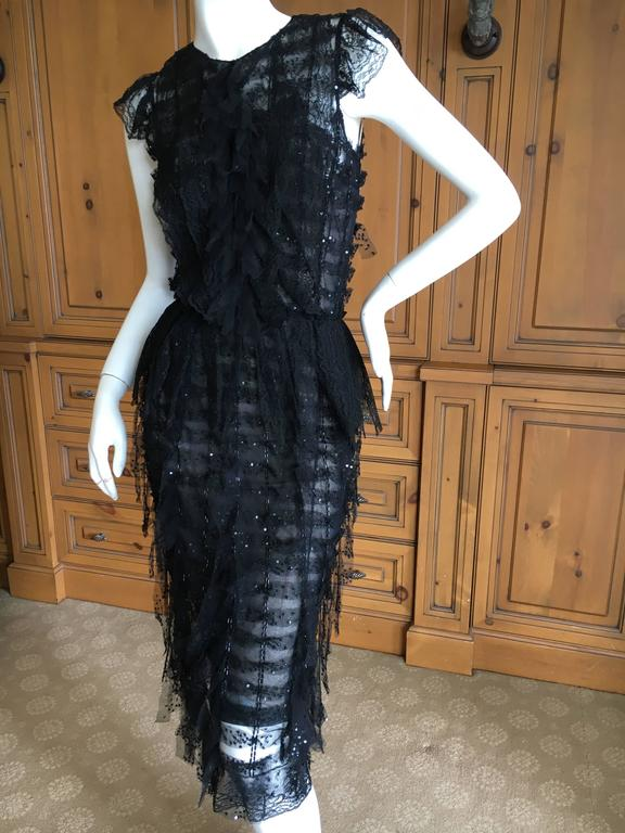 Oscar de la Renta Sheer Black Bugle Bead Embellished Cocktail Dress with Slip For Sale 4