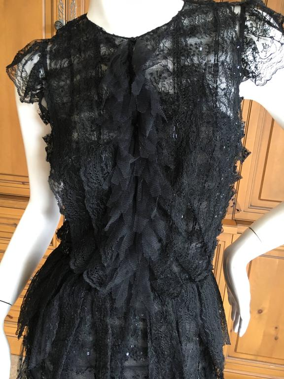 Oscar de la Renta Sheer Black Bugle Bead Embellished Cocktail Dress with Slip For Sale 5