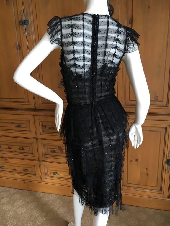 Oscar de la Renta Sheer Black Bugle Bead Embellished Cocktail Dress with Slip For Sale 6