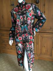 1920's Asian Exquisite Embroidered Evening Coat with Chrysanthemum and Birds