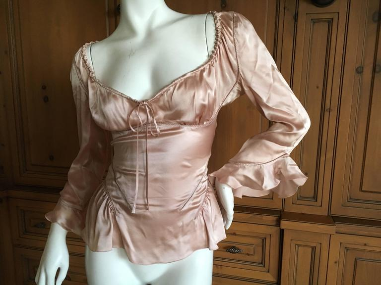 """Alexander McQueen Fall 2002 Supercalifrgilistic Collection Milkmaid Silk Top Size 40 Bust 40"""" Waist 28"""" Length 25"""" Excellent condition"""