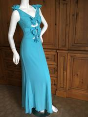 Valentino Vintage Turquoise Silk Evening Dress with Peek a Boo Bows