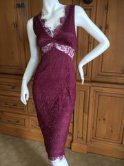 D&G Dolce & Gabbana Vintage Lace Overlay Sheer Cocktail Dress