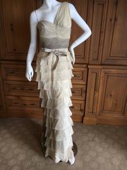 Valentino Vintage One Shoulder Ombre Plisse Silk Evening Dress with Pearl Belt