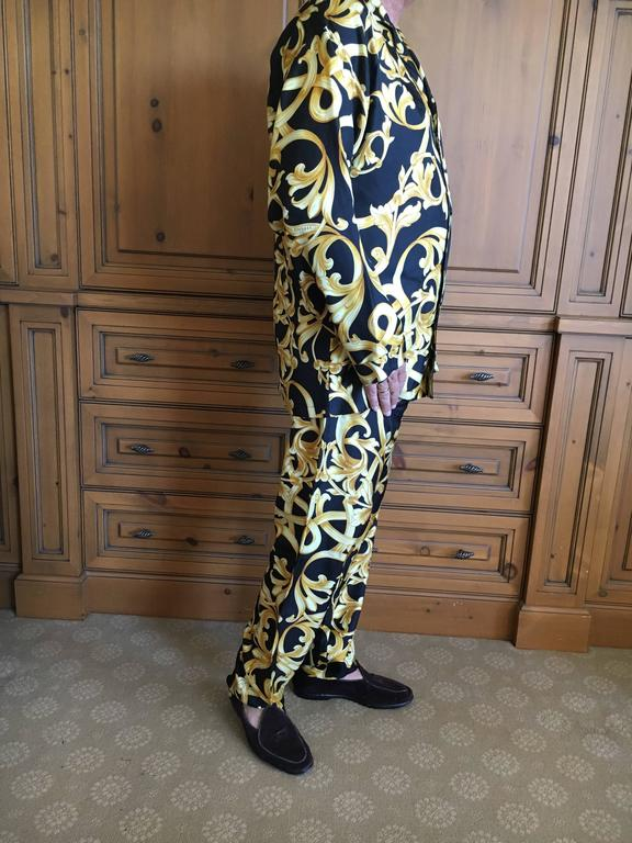 Versace Black And Gold Silk Baroque Print Mens Pajamas