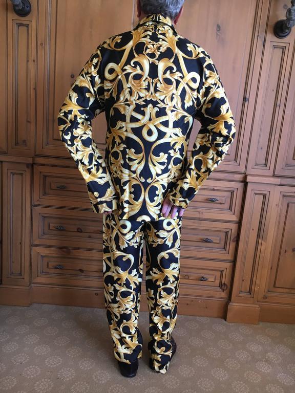 Versace Black and Gold Silk Baroque Print Mens Pajamas Unworn 1