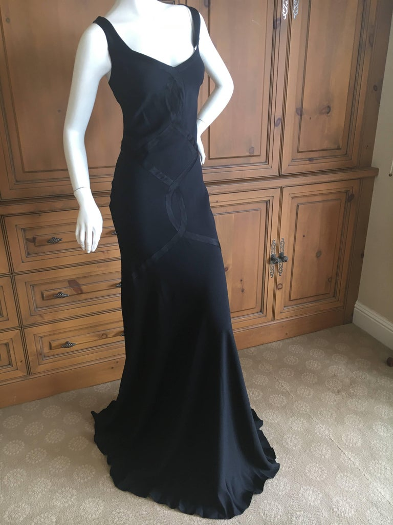 John Galliano 1990 Black Bias Cut Evening Dress with Train New with Tags Size 46 4