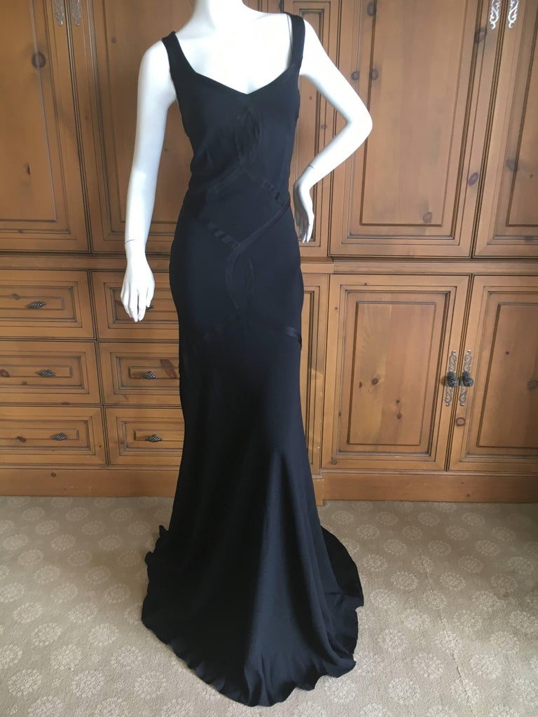 John Galliano 1990 Black Bias Cut Evening Dress with Train New with Tags Size 46 5