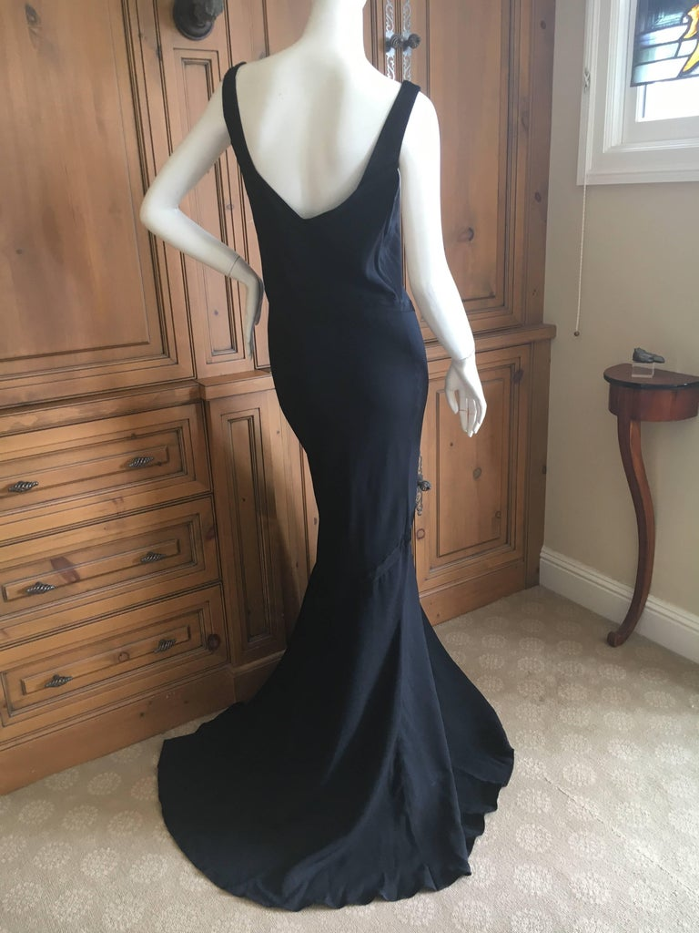 John Galliano 1990 Black Bias Cut Evening Dress with Train New with Tags Size 46 6