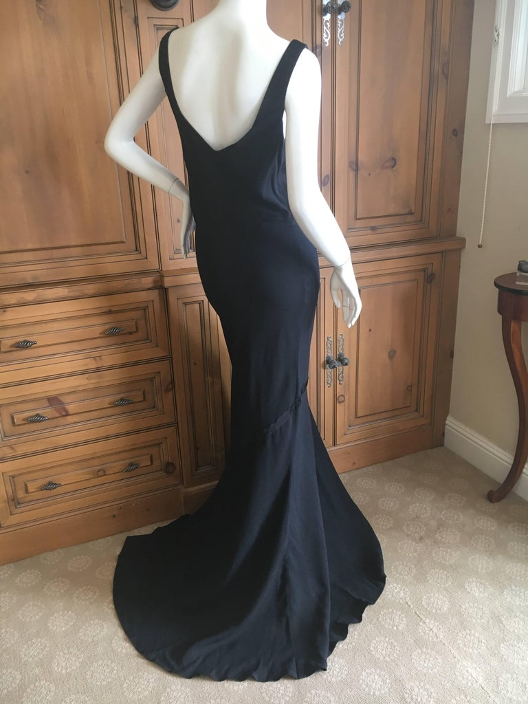 John Galliano 1990 Black Bias Cut Evening Dress with Train New with Tags Size 46 2