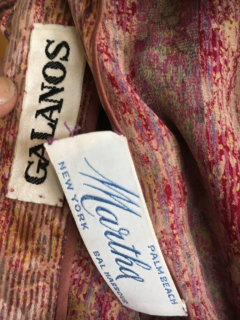 Galanos for Martha Park Avenue Silk Drop Waist Peasant Dress For Sale 1