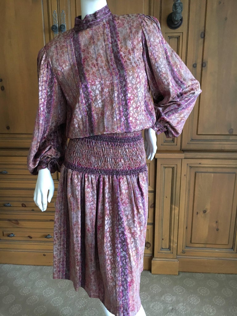 """Galanos for Martha Park Avenue Silk Drop Waist Peasant Dress. This is so much prettier in person, on a leopard pattern silk. Finished to perfection inside and out. Size Small Bust 40"""" Waist 26"""" Hips 44"""" Length 45"""" James Galanos was considered"""