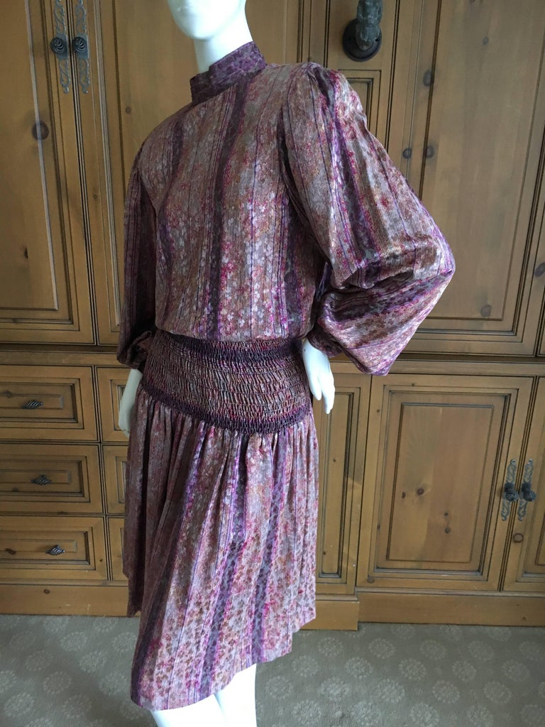 Gray Galanos for Martha Park Avenue Silk Drop Waist Peasant Dress For Sale