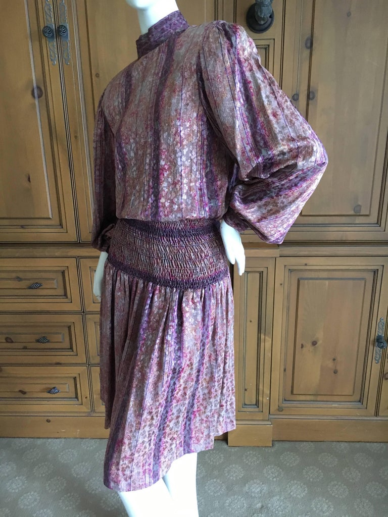 Galanos for Martha Park Avenue Silk Drop Waist Peasant Dress In Excellent Condition For Sale In San Francisco, CA