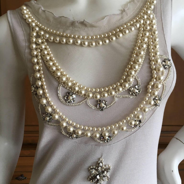 Christian Dior Chic Silk Dress with Lesage Trompe-l'œil Pearl and Crystal Jewels 3