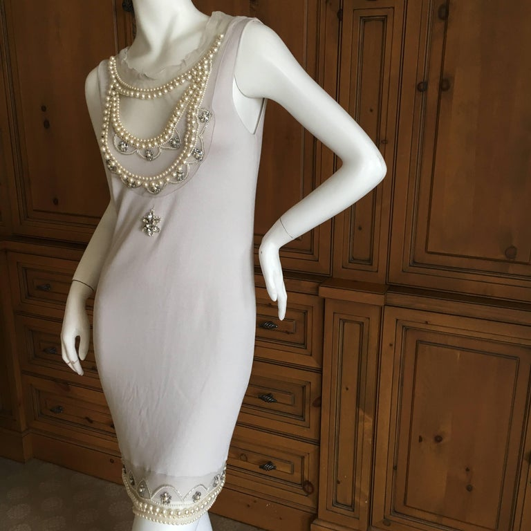 Christian Dior Chic Silk Dress with Lesage Trompe-l'œil Pearl and Crystal Jewels 6