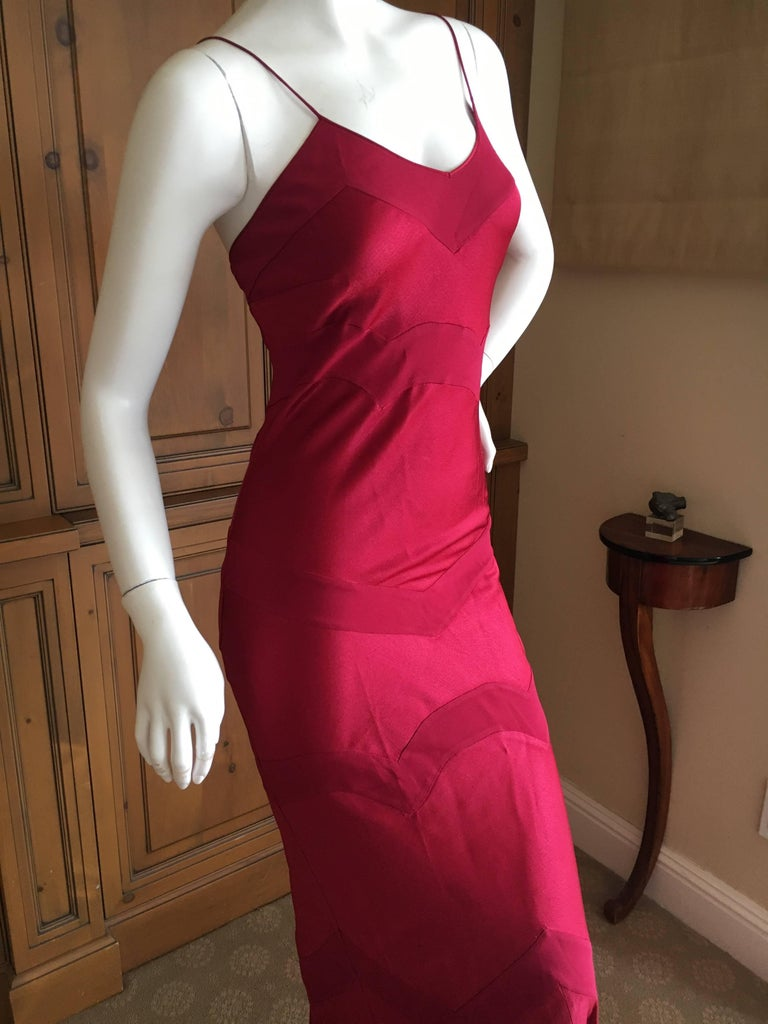 John Galliano Vintage 90\'s Deep Red Evening Dress For Sale at 1stdibs