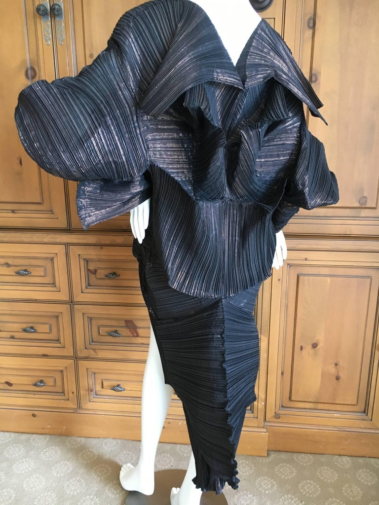 Issey Miyake Important Sculptural Black Vintage Dress For Sale 1