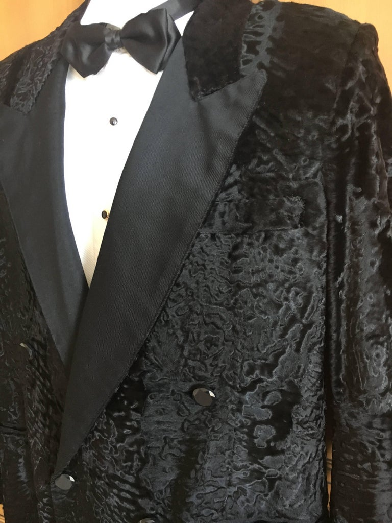 d2158349098 YSL Tom Ford Black Broadtail Lamb Fur Tuxedo Jacket with Peak Silk Lapels  In Excellent Condition