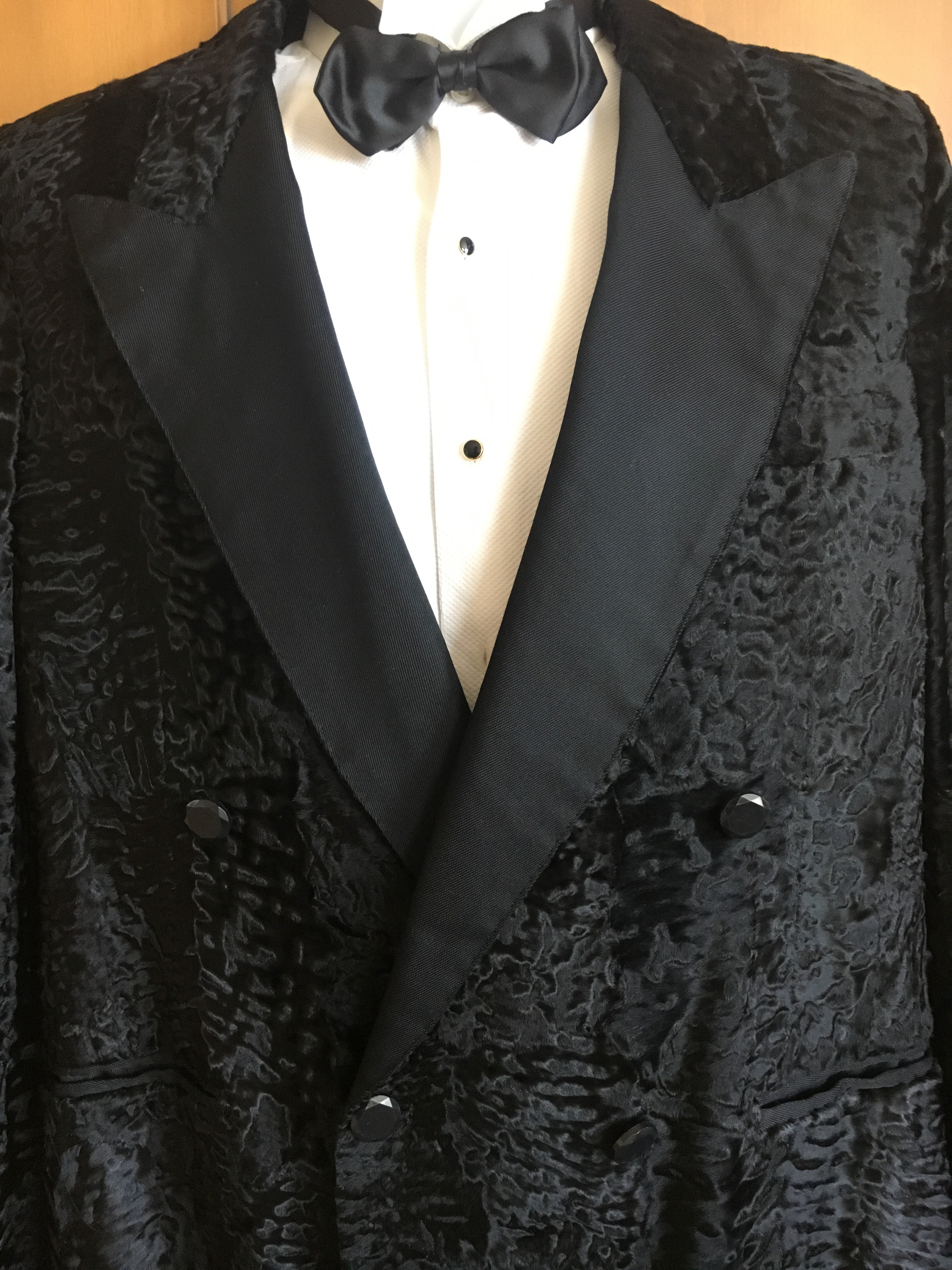 490869307ba YSL Tom Ford Black Broadtail Lamb Fur Tuxedo Jacket with Peak Silk Lapels  at 1stdibs