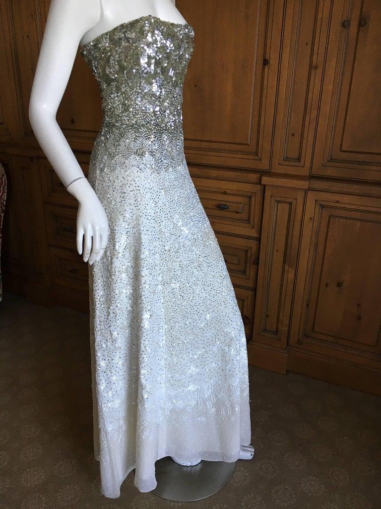 Women's Oscar de la Renta Strapless Silver White Built in Corset Sequin Evening Dress For Sale