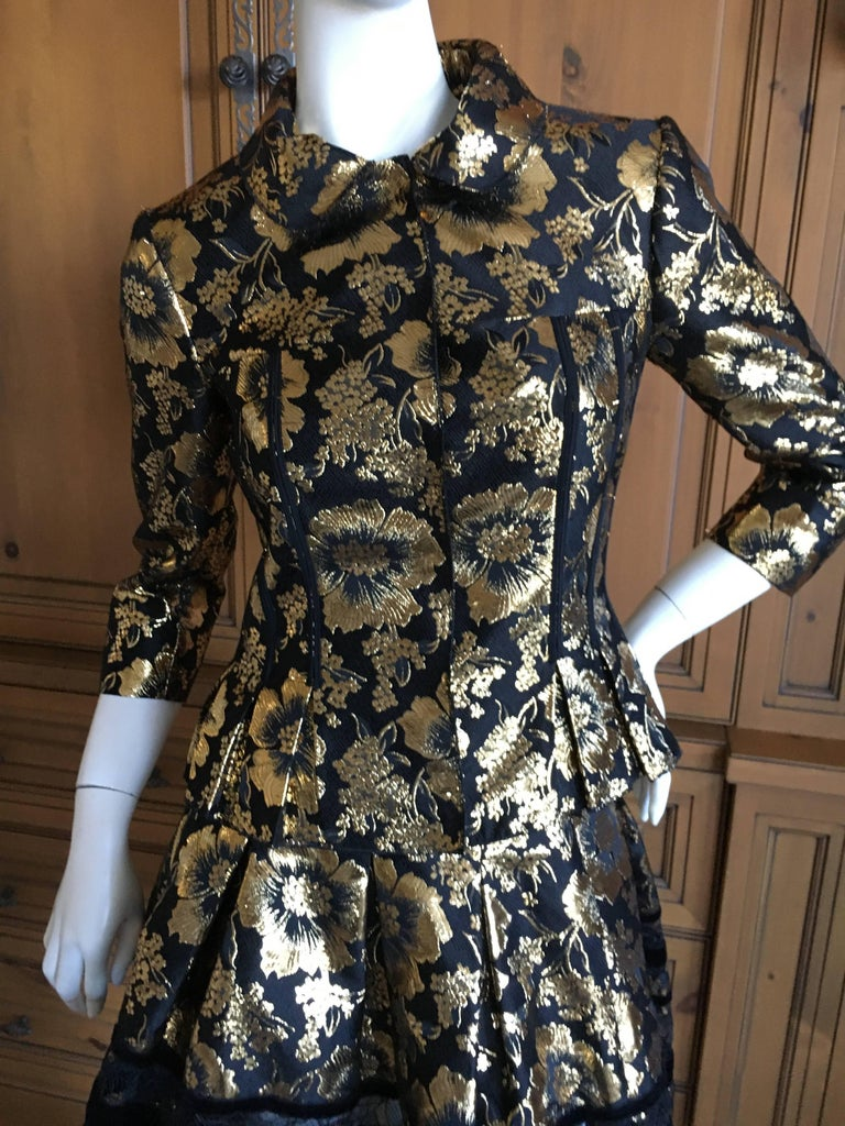 Oscar De La Renta Gold And Black Floral Jacquard Skirt