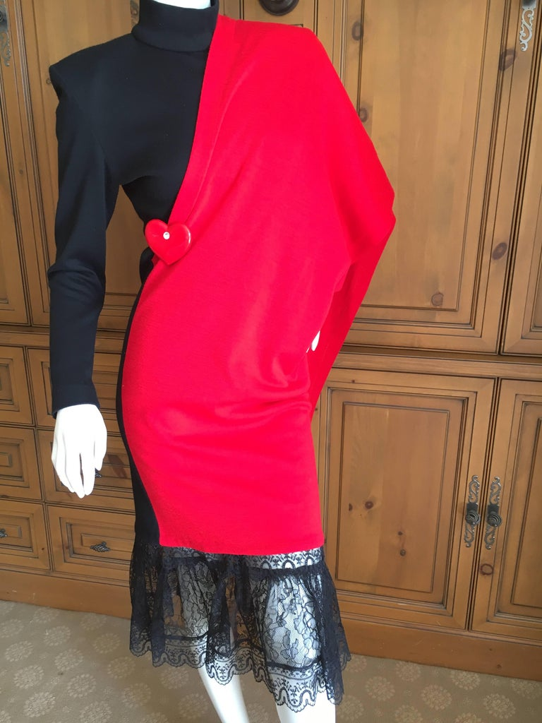 Women's Patrick Kelly Paris Vintage Black Dress with Heart Charm and Red Sash Cape For Sale