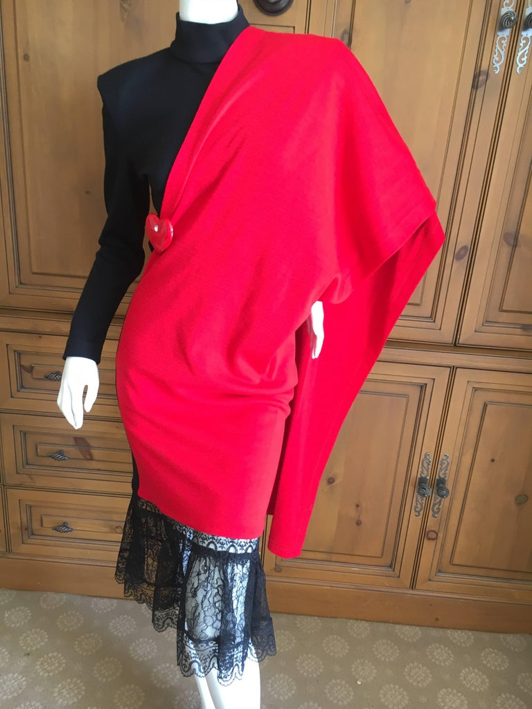 Patrick Kelly Paris Vintage Black Dress with Heart Charm and Red Sash Cape For Sale 1