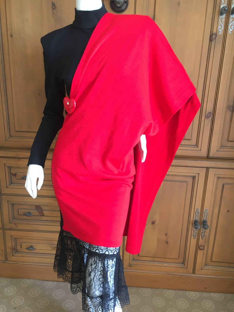 Patrick Kelly Paris Vintage Black Dress with Heart Charm and Red Sash Cape For Sale 2