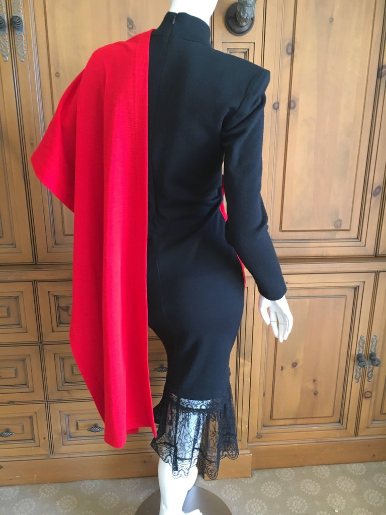 Patrick Kelly Paris Vintage Black Dress with Heart Charm and Red Sash Cape For Sale 3