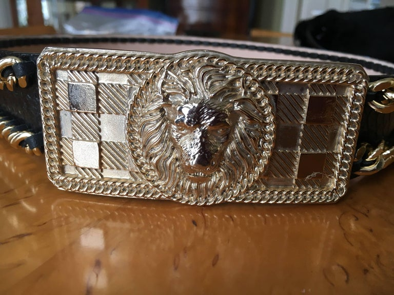 Balmain Black Gold Chain Accented Belt With Lion Head