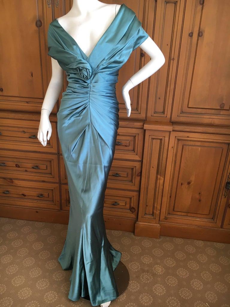 Christian Dior by John Galliano Exquisite Low Cut Silk Evening Dress ...