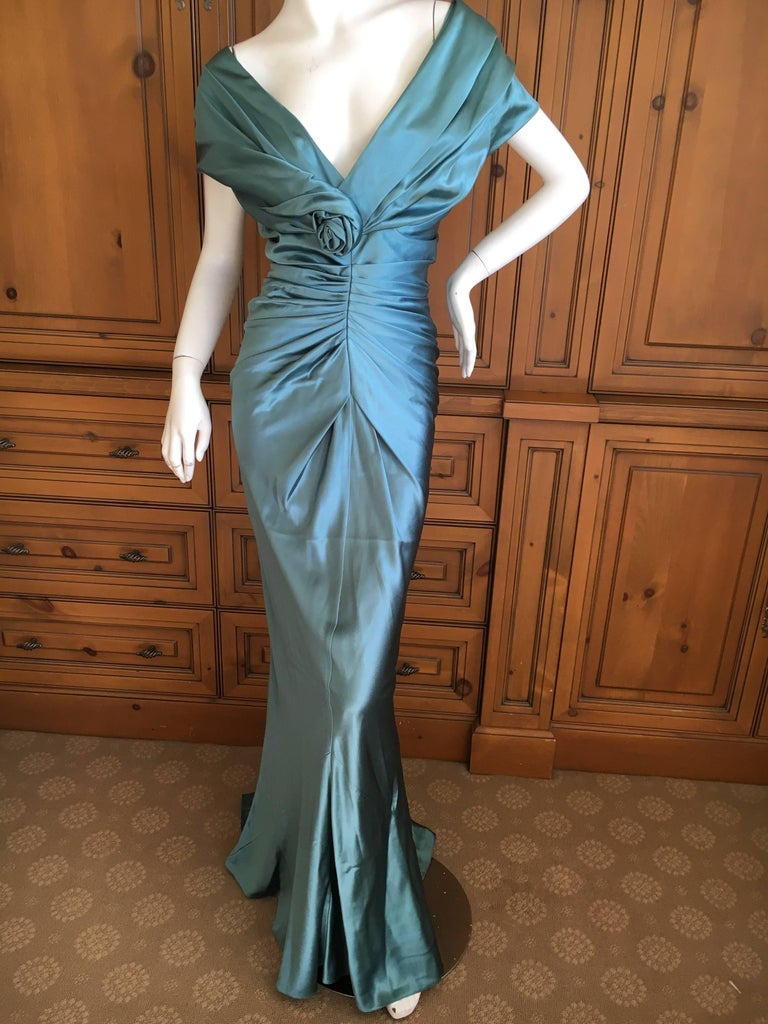Christian Dior by John Galliano Exquisite Low Cut Silk Evening Dress  3