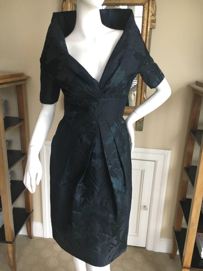 "Oscar de la Renta Vintage Jacquard Cocktail Dress with Plunging Portrait Collar. This is such an elegant Oscar, I also have it in a long version. Size 6 Bust 36"" Waist 28"" Hips 44"" Length 37"" Excellent condition"