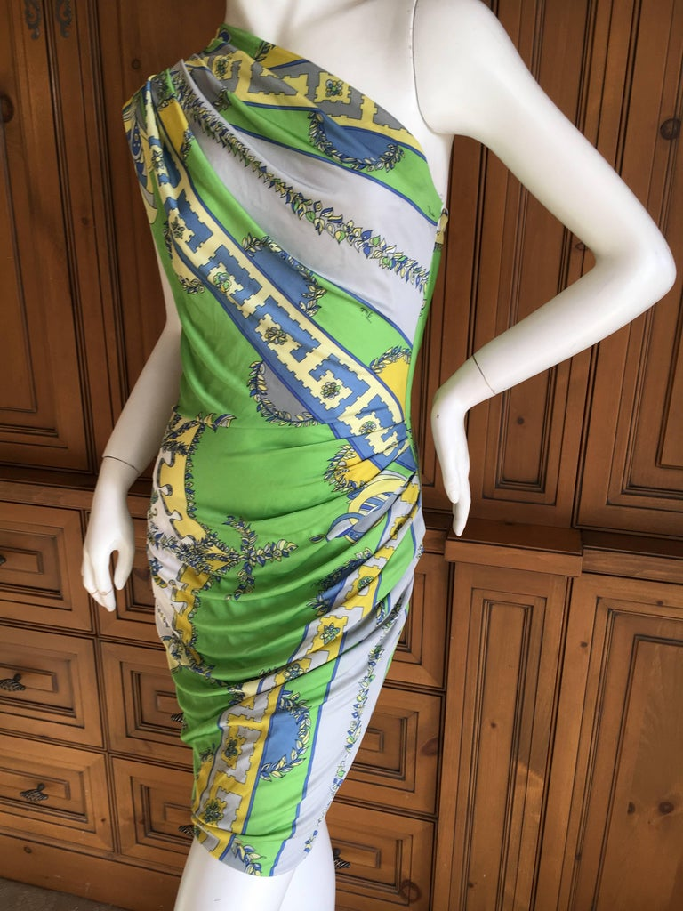 """Emilio Pucci Chic One Shoulder Mini Dress. This is so sweet. 100% Viscose, feels like silk. Size 36 Bust 38"""" Waist 28"""" Hips 40"""" Length 34"""" Excellent condition"""