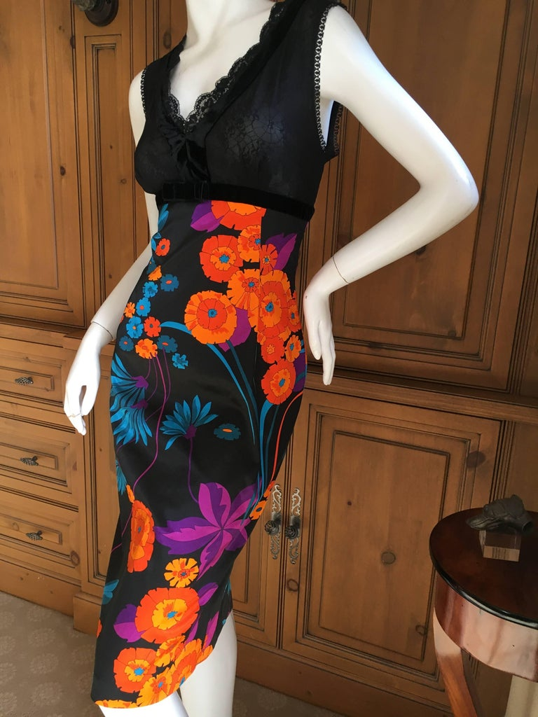 D&G Dolce & Gabbana Mod Print Cocktail Dress with Sheer Bust In Excellent Condition For Sale In San Francisco, CA