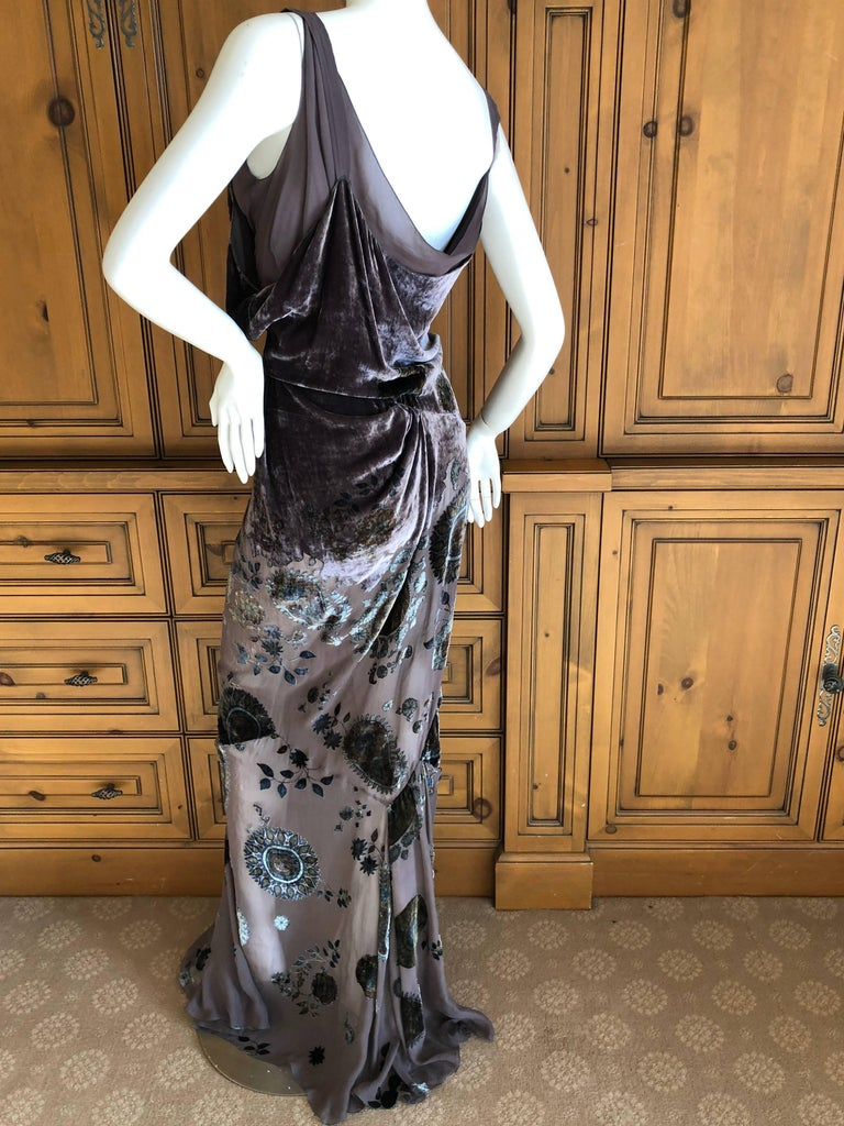 Christian Dior by John Galliano Gray Floral Devore Velvet Evening Dress In Excellent Condition For Sale In San Francisco, CA