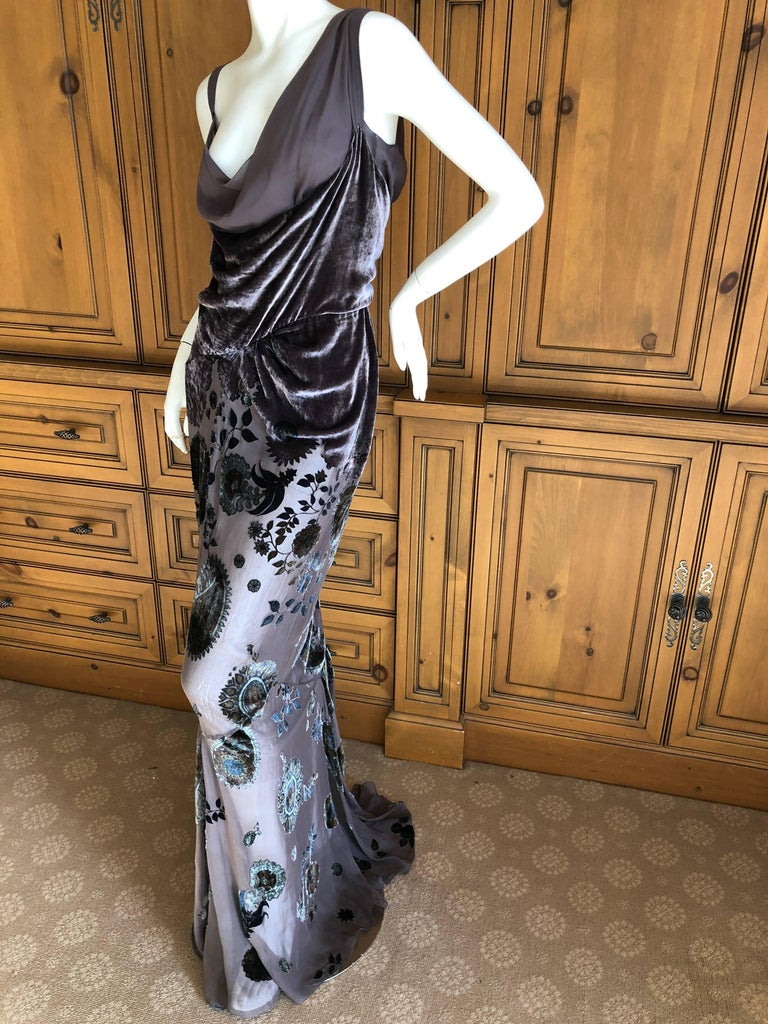 Exquisite gray devore velvet floral gown from John Galliano for Christian Dior. There is a detached full silk slip, which I photographed separately . I also include photos of the dress worn without the slip, so the skirt is sheer. Photos don't